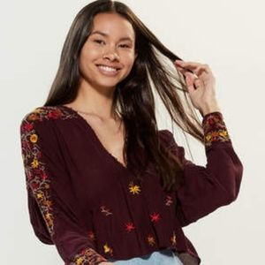 NWT! Free People Ava Embroidered Top Dark Brown